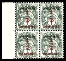** N°1a, 1/2s 1c Grisnoir, DOUBLE SURCHARGE En Bloc De Quatre Bdf, Très Bon Centrage (tirage 100 Ex), SUPERBE. R.R. (sig - French Andorra