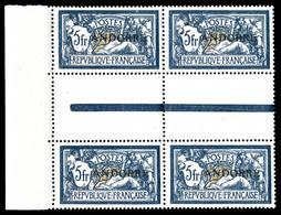 ** N°21, 5F Bleu Et Chamois En Bloc De 4 Avec Interpanneau. SUP (certificat)  Qualité: **  Cote: 1160 Euros - French Andorra