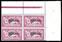 ** N°23, 20F Lilasrose En Bloc De 4 Coin De Feuille. SUP (certificat)  Qualité: **  Cote: 3400 Euros - French Andorra