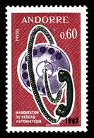 ** N°182b, 60c Carmin Réseau Téléphonique. Double Frappe Du Millésime '1967', Tirage 25 (moins De 10 Pièces Connues). R. - French Andorra