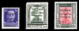 * N°1/3, Les 3 Valeurs SUP (certificat)  Qualité: *  Cote: 565 Euros - Fezzan (1943-1951)