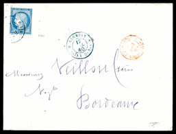 O 25c Cérès Obl Càd Bleu De St Denis Du 17 Juillet 1880 Sur Enveloppe Pour Bordeaux. TB  Qualité: O - Réunion (1852-1975)