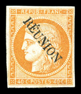 * N°11, 40c Orange Surchargé. SUP (signé Calves/certificat)  Qualité: *  Cote: 650 Euros - Réunion (1852-1975)