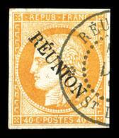O N°11, 40c Orange Surchargé. SUP (signé Bernichon)  Qualité: O  Cote: 600 Euros - Réunion (1852-1975)