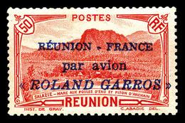 ** N°1, 50c Rouge Surchargé 'ROLAND GARROS', TTB (signé Brun)  Qualité: **  Cote: 468 Euros - Réunion (1852-1975)