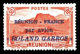 * N°1, 50c Rouge Surchargé 'REUNIONFrance Par Avion ROLAND GARROS', TTB (signé/certificat)  Qualité: *  Cote: 360 Euros - Réunion (1852-1975)