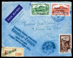 O N°1, 50c Rouge Surchargé 'Rolland Garros'(+N°132 Et 140) Avec Griffe '1ère Liaison Aèropostale' Sur Lettre Du 25 Janv  - Réunion (1852-1975)