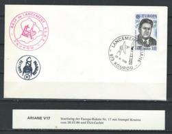 KZ--051--  GUYANE FRANCAISE -  FUSÉE ARIANE  V 17 - CENTRE SPATIAL GUYANNAIS  (28/03/86 ) VOIR SCAN POUR DETAIL - Guyane Française (1886-1949)