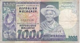 BILLETE DE MADAGASCAR DE 1000 ARIARY DEL AÑO 1974  (BANKNOTE) LEMUR - BAOBAB - Madagascar