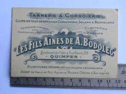 (29) Finistère, QUIMPER, Carte Commerciale A. BODOLEC, Bld De L'Odet&rue Neuve, Tannerie & Corroierie,  Avis De Passage - Quimper