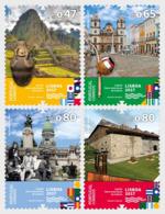 Portugal 4200/04 Drapeaux, Lisboa, Machu Picchu Pérou, Brasil, Argentina, Mexico - Gemeinschaftsausgaben
