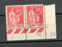 FRANCE -  TYPE PAIX - N° Yvert N° 283 BORD DE FEUILLE DATÉ DU 16/7/36 - 1932-39 Peace