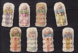 Découpis   Lot De 8    Bébés Et Couffins       5.5 X 2.6 Cm Le Plus Grand - Découpis