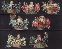 Découpis   Lot De 7    Bébés Et Paniers De Fleurs       6 X 5.5 Cm Le Plus Grand - Découpis