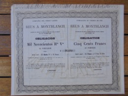ESPAGNE - MADRID 1859 - CDF DE REUS A MONTBLANCH - OBLIGATION 500 FRS - Sin Clasificación