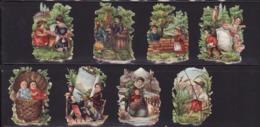 Découpis   Lot De 8    Enfants, Paysages       4.6 X 3.2 Cm Le Plus Grand - Découpis