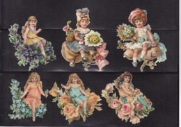 Découpis   Lot De 6    Femmes Et Fleurs       7.4 X 6 Cm Le Plus Grand - Découpis