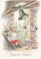 L32d491 - Joyeuse Pâques - Dessin D'enfant Et Colombes , Cloche - Colorprint  N°88107 - Easter