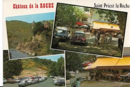 SAINT PRIEST LA ROCHE - Château De La Roche - Vues - Voiture :DS Citroen - Peugeot 404 - Renault 4L - Etc... - France