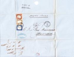 1858 Faltbrief Mit Dreifarben Frankatur Aus Genua Nach Messina; Fotoattest AVI 2019 - Sardaigne