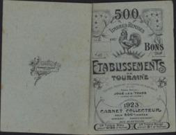 Carnet De Timbres Remises Ou Bons établissements De Touraine Joué Les Tours 1923 Carnet Collecteur Pr 500 Timbres - France
