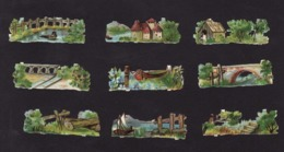 Découpis   Lot De 9    Paysages       5 X 1.7 Cm Le Plus Grand - Découpis