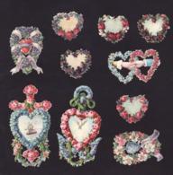 Découpis   Lot De 10    Fleurs, Coeurs Etc...       9.2 X 5.2 Cm Le Plus Grand - Découpis