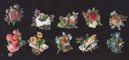 Découpis   Lot De 10    Fleurs Et Objets       4.3 X 3.5 Cm Le Plus Grand - Découpis