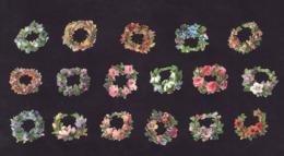 Découpis   Lot De 17    Couronnes De Fleurs       2.7 X 2.7 Cm Le Plus Grand - Découpis
