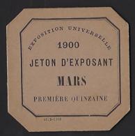 Ticket Jeton D'exposant Pour L'Exposition Universelle De 1900 - Tickets - Vouchers