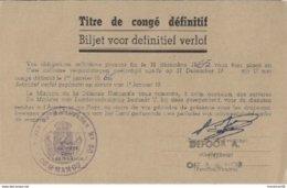 TITRE DE CONGÉ DÉFINITIF (Démobilisation) - NOYAU MOBILISATEUR 80 - MINISTÈRE DE LA DÉFENSE NATIONALE BELGE. - Documenti