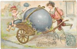 Gaufrée, Relief, Jeune Garçon Poussant Une Brouette, Gros Oeuf Bleu - Pâques - Fantaisies