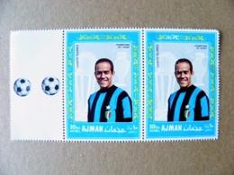 2 Post Stamps Ajman Uae Manama Football Soccer Italy Inter Player Luisito Suarez Champions Of Sport - Fútbol