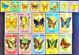 # Kenya 1988-90**Sc.424-440  Butterflies , MNH [20;119] - Mariposas