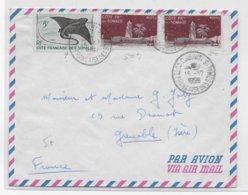 COTE DES SOMALIS - 1959 - ENVELOPPE Par AVION De DJIBOUTI (CROISEUR JEANNE D'ARC - NAVAL) => GRENOBLE - Côte Française Des Somalis (1894-1967)