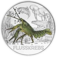 Oostenrijk 2019     3 Euro Zilver   Rivierkreeft - écrevisse    Gekleurd  Collorée  !! - Autriche