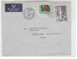 COTE DES SOMALIS - 1961 - ENVELOPPE Par AVION De DJIBOUTI => GOLFE JUAN - Lettres & Documents
