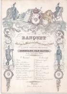 """ANTWERPEN-ANVERS""""BANQUET-OFFICIERS DE LA GARDE CIVIQUE-19 NOVEMBRE 1848-MENU""""LITH.DINGEMANS-248/177MM - Cartes Porcelaine"""