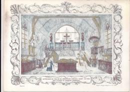 """BRUGGE-BRUGES""""INTERIEUR DE L'EGLISE DE JERUSALEM-1845""""LITH.DE LAY DEMUIJTTERE - Cartes Porcelaine"""