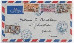 COTE DES SOMALIS - 1950 - ENVELOPPE Par AVION De DJIBOUTI => GENOLHAC - Côte Française Des Somalis (1894-1967)