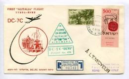 "FIRST ""ALITALIA"" FLIGHT, LYDDA - ROME, DC-7C, ISRAEL - ITALY, 2.11.1958. ENVELOPE ISRAEL IL RARE FLIGHT -LILHU - Brieven En Documenten"