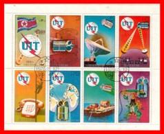 KOREA DEL NORTE HOJITA BLOQUE  AÑO 1976 COMUNICACIONES TELEGRAFICAS - Corea Del Norte