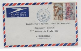 COTE DES SOMALIS - 1951 - ENVELOPPE Par AVION De DJIBOUTI AVION => MARSEILLE - Lettres & Documents