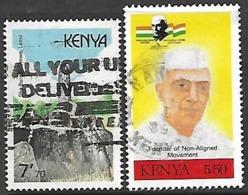 Kenya 1989   Sc#485 7/70sh  Monument & 503 5/50 Nehru Used  2016 Scott Value $7.50 - Kenia (1963-...)