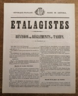 """RC 13711 GRENOBLE ISERE 1875 """" ÉTALAGISTES """" RÈGLEMENTS DES MARCHÉS ANCIENNE AFFICHE DE MAIRIE TB - Affiches"""