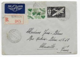 COTE DES SOMALIS - 1945 - ENVELOPPE RECOMMANDEE Par AVION De DJIBOUTI  => MARSEILLE - Lettres & Documents