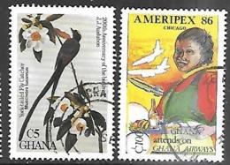 Ghana  1985-6  Sc#980 Bird & 1004 Stewardess Used 2016 Scott Value $4 - Ghana (1957-...)