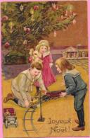 Gaufrée, Relief - NOEL - Enfants, Train électrique, Automobile, Sapin De Noël - Fantaisies