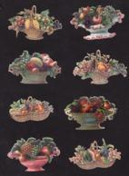 Découpis   Lot De 8    Paniers De Fruits       8.2 X 5.2 Cm Le Plus Grand - Découpis