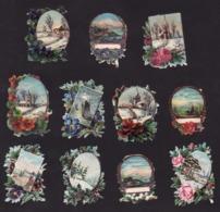 Découpis   Lot De 11    Paysages       6 X 4.2 Cm Le Plus Grand - Découpis